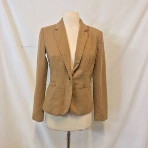 Merona Tan One Button Fully Lined Blazer Size 2